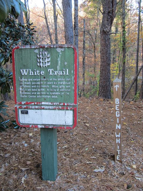 Entrance sign to the White Trail at the State of Georgia Botanical Gardens