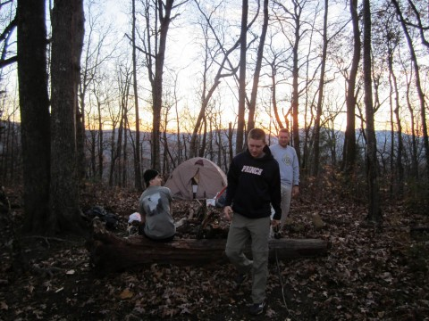 Campsite Near Poor Mountain With Tent And Sunset On Appalachian Trail in Georgia