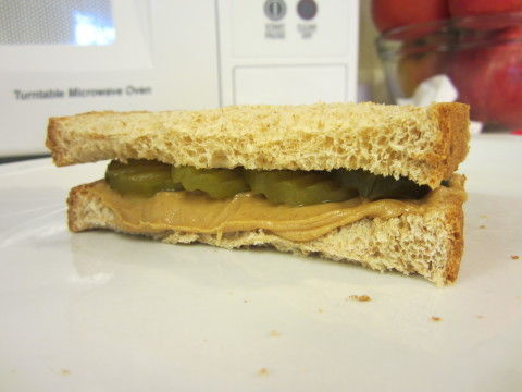Image of a Sandwich Made With Peanut Butter and Pickles - a PB&P