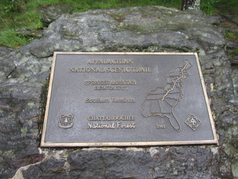 New Appalachian Trail Terminus Plaque on Springer Mountain