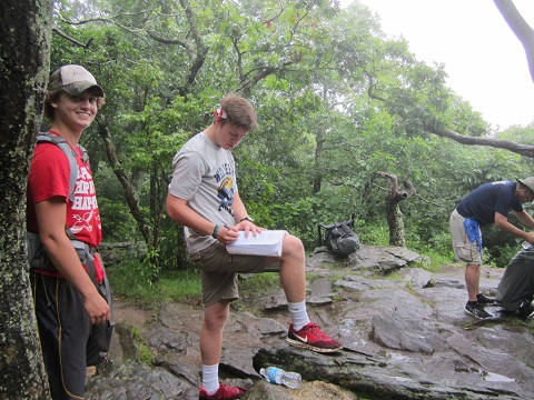 Signing the Appalachian Trail Log Book
