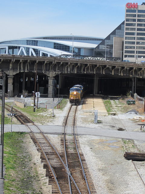 CSX Coal Train in Gulch Under CNN Deck
