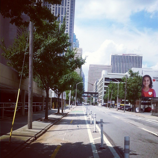 The Peachtree Center Ave. Cycletrack in Downtown Atlanta