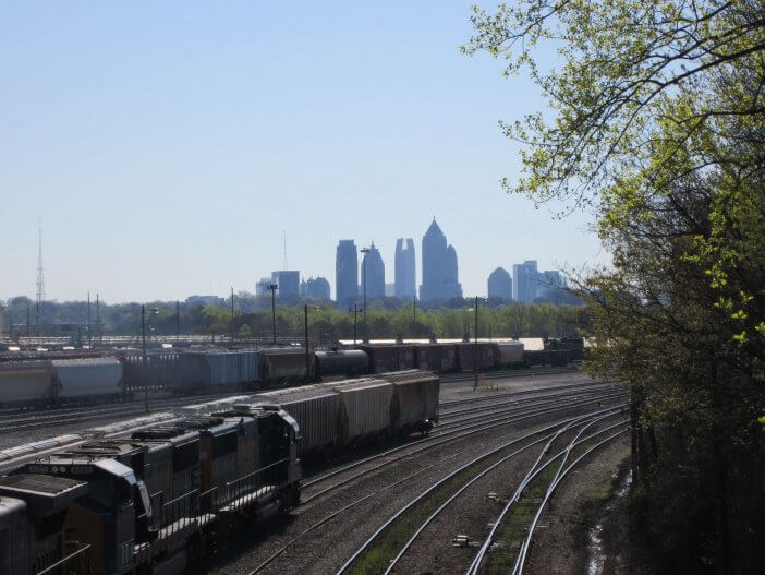 Midtown with a moving train.
