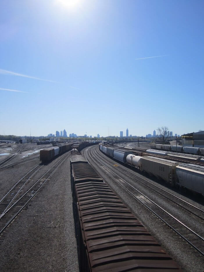 Inman Yards with skyline in the distance.