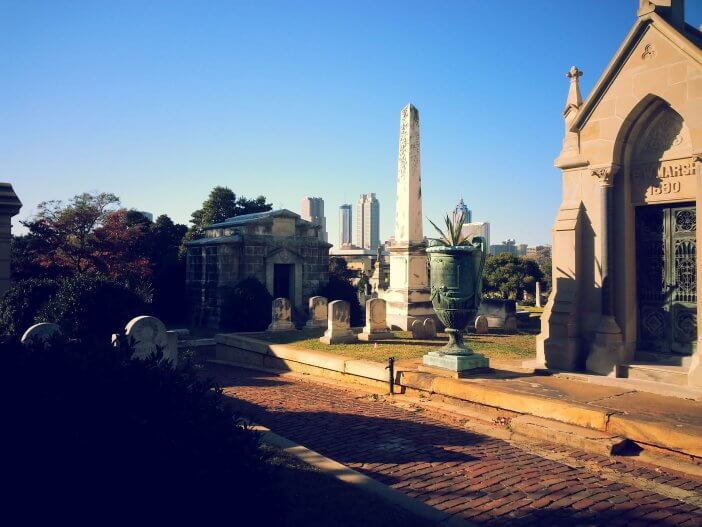 Mausoleums set against the Skyline in Oakland Cemetery