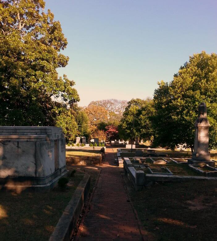 Small Path through graves in Oakland Cemetery
