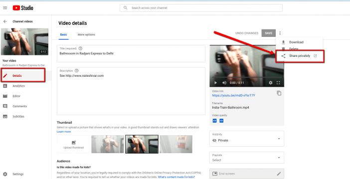Share YouTube Videos Privately 3